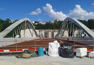 Construction du pont Schuman à Lyon